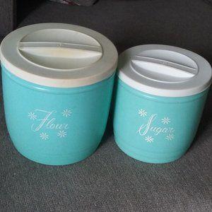 Vintage Flour + Sugar Turquoise Canisters w/Lids